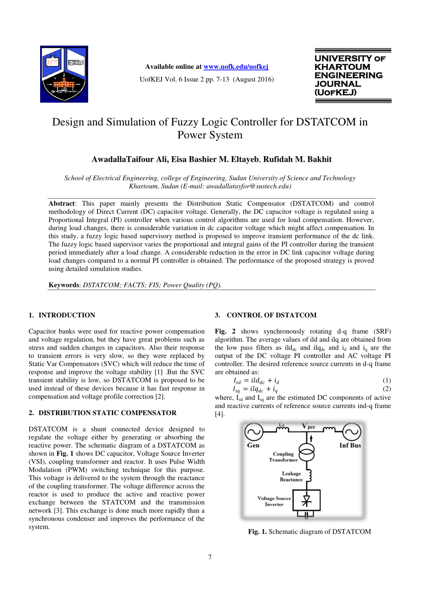 medium resolution of  pdf design and simulation of fuzzy logic controller for dstatcom in power system