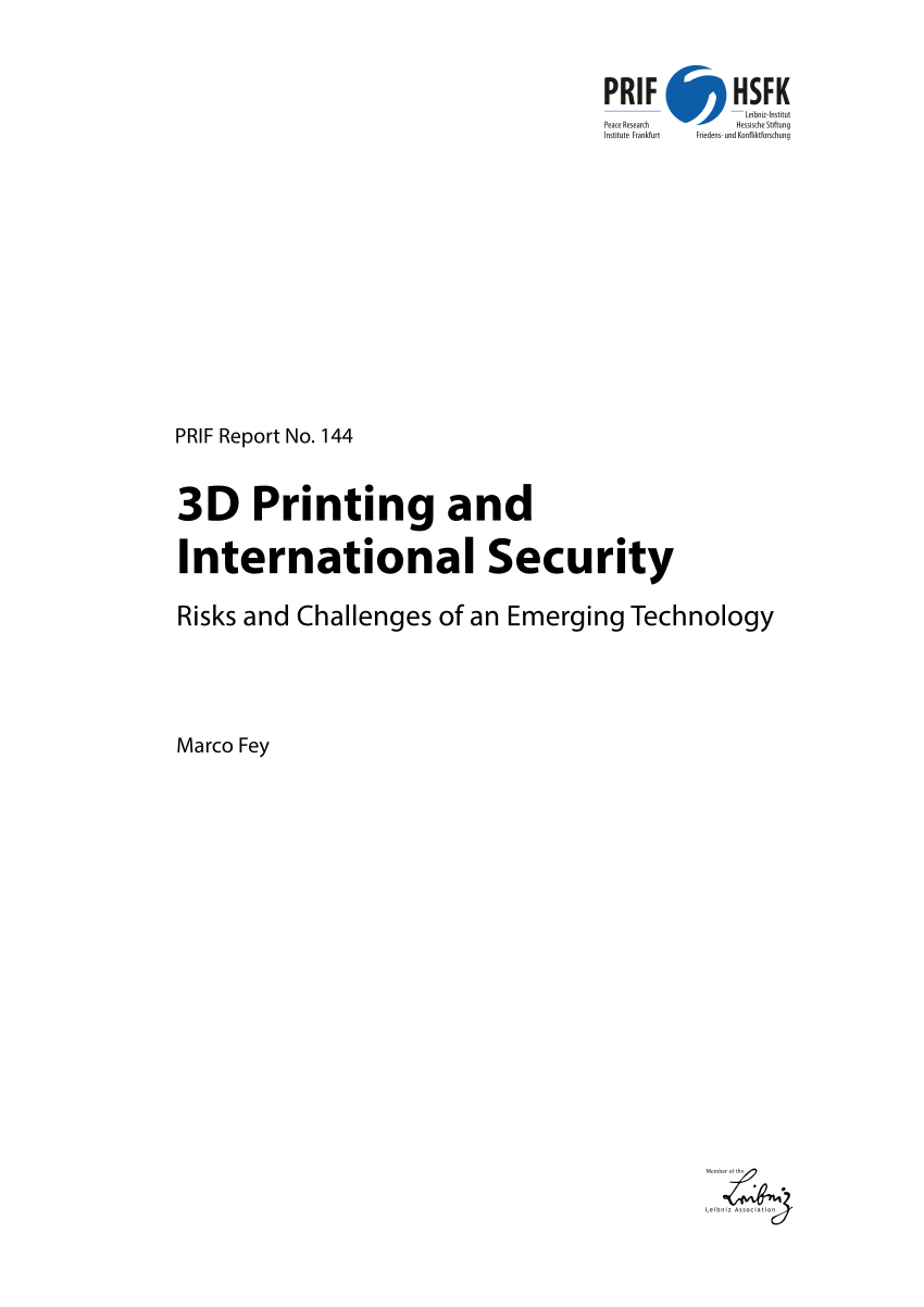 (PDF) 3D Printing and International Security: Risks and