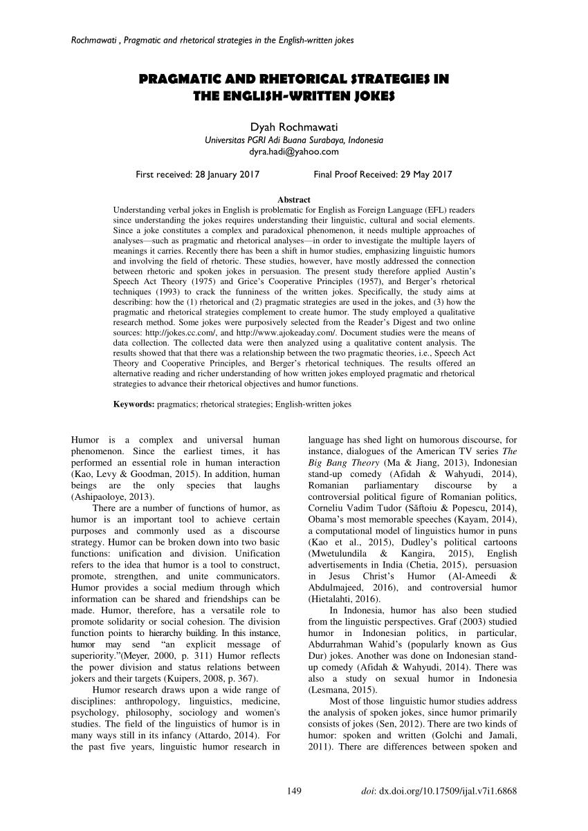 (PDF) Pragmatic and rhetorical strategies in the English