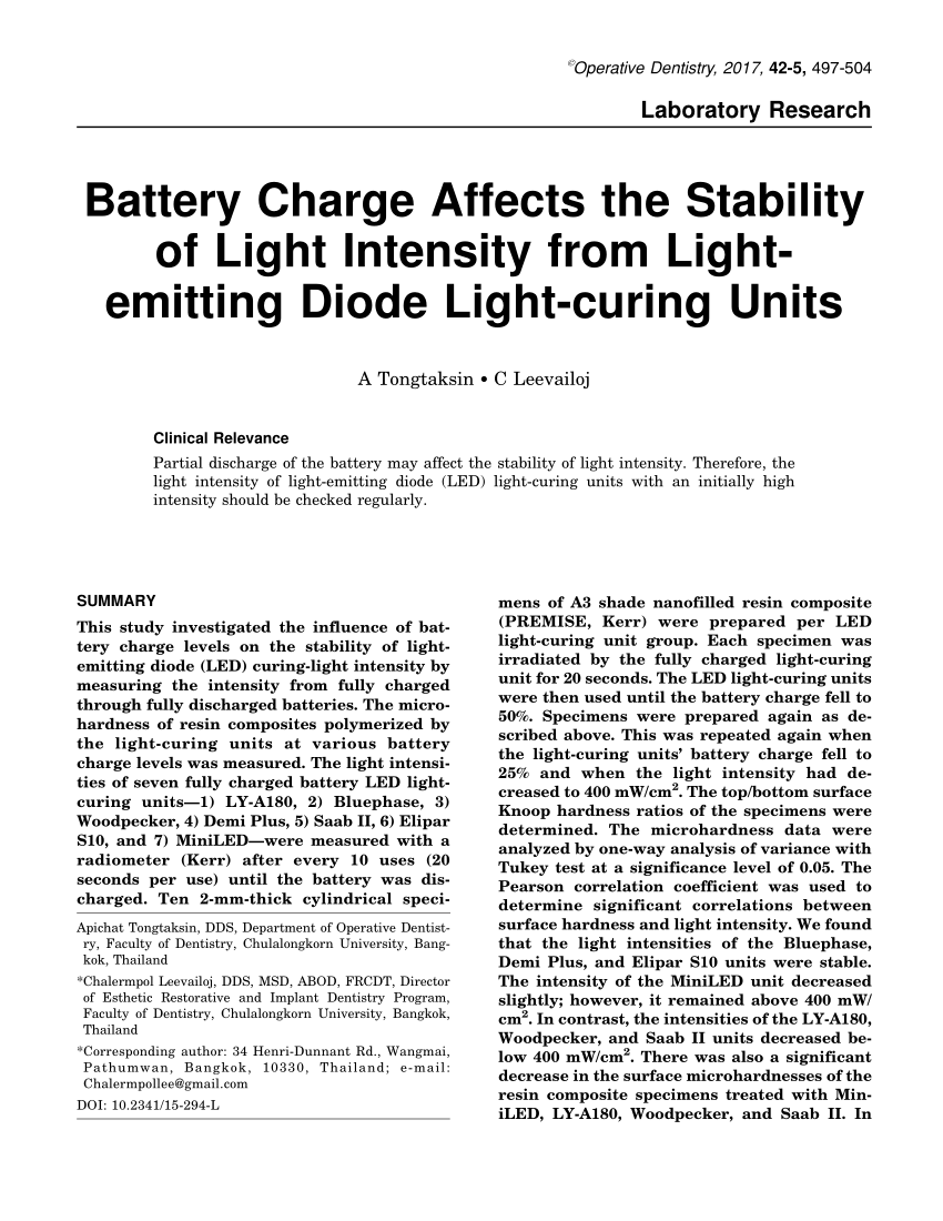 hight resolution of  pdf battery charge affects the stability of light intensity from light emitting diode light curing units