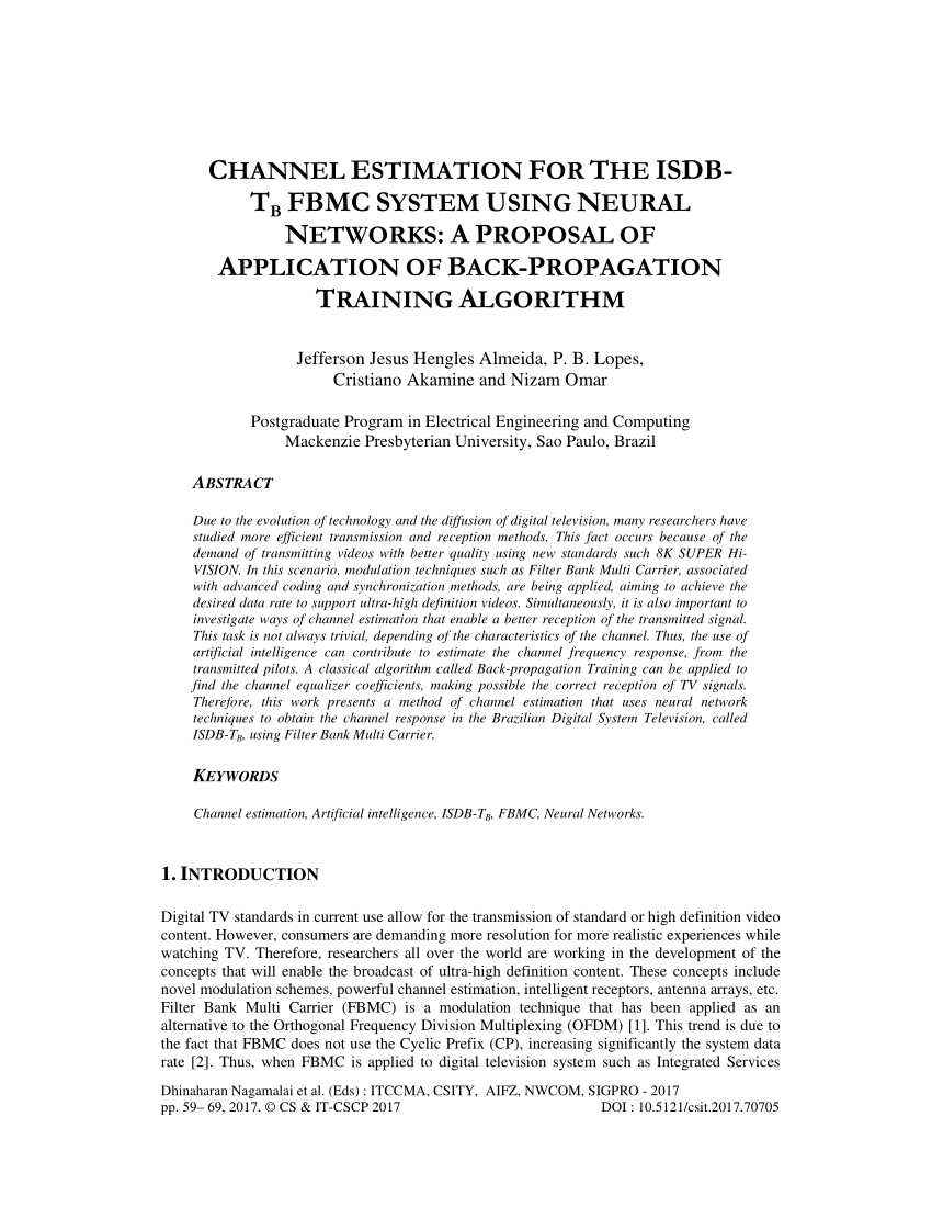 hight resolution of  pdf channel estimation for the isdb tb fbmc system using neural networks a proposal of application of back propagation training algorithm