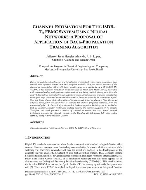 small resolution of  pdf channel estimation for the isdb tb fbmc system using neural networks a proposal of application of back propagation training algorithm