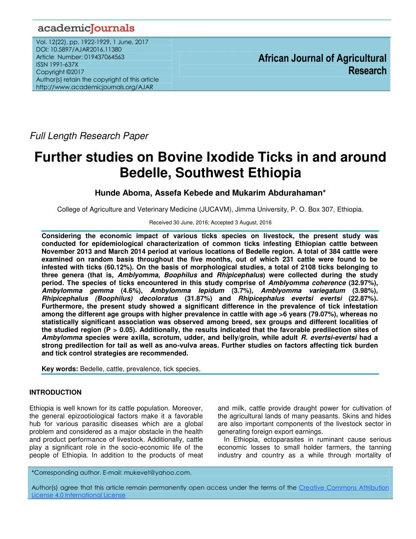 medium resolution of  pdf further studies on bovine ixodide ticks in and around bedelle southwest ethiopia