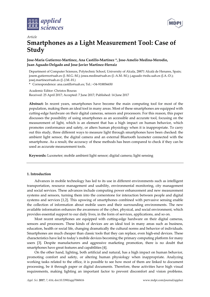 hight resolution of  pdf smartphones as a light measurement tool case of study