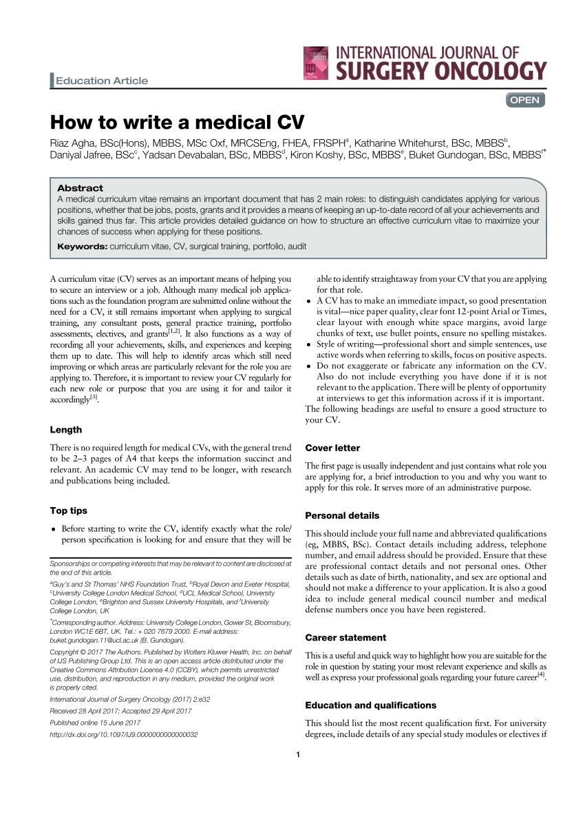 how to write a medical cv