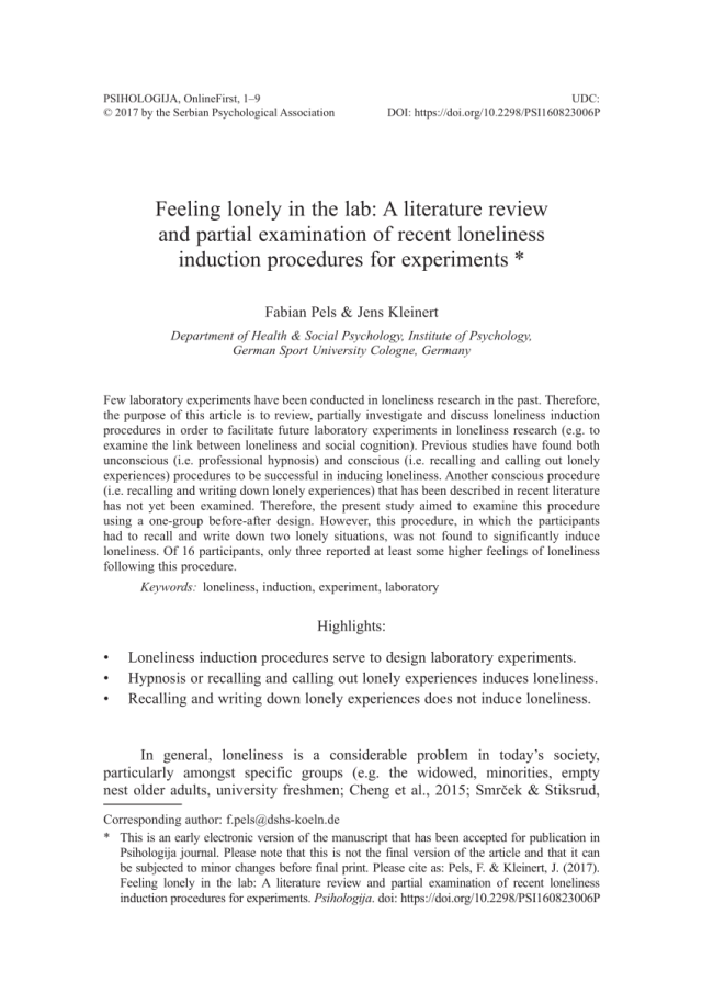 PDF) Feeling lonely in the lab: A literature review and partial