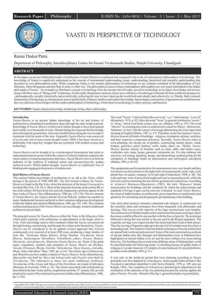 PDF VAASTU IN PERSPECTIVE OF TECHNOLOGY