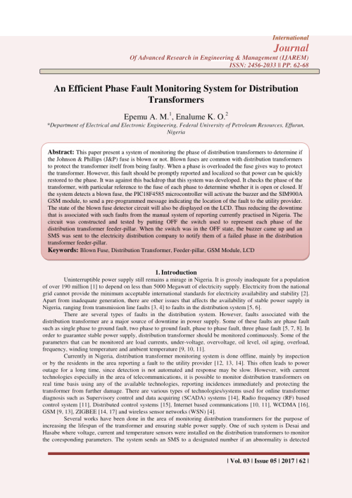 small resolution of  pdf an efficient phase fault monitoring system for distribution transformers