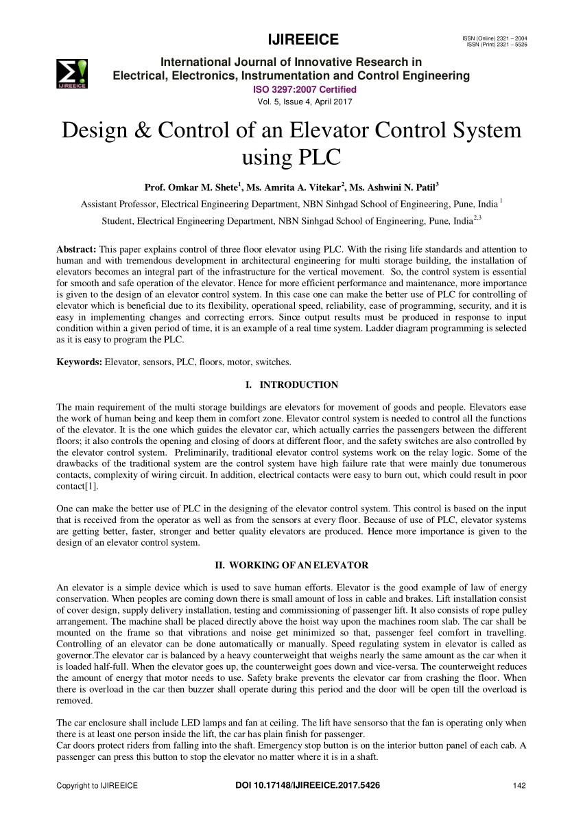 medium resolution of  pdf design control of an elevator control system using plc