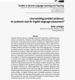 PDF) Unscrambling jumbled sentences: An authentic task for English language  assessment? [ 1202 x 850 Pixel ]