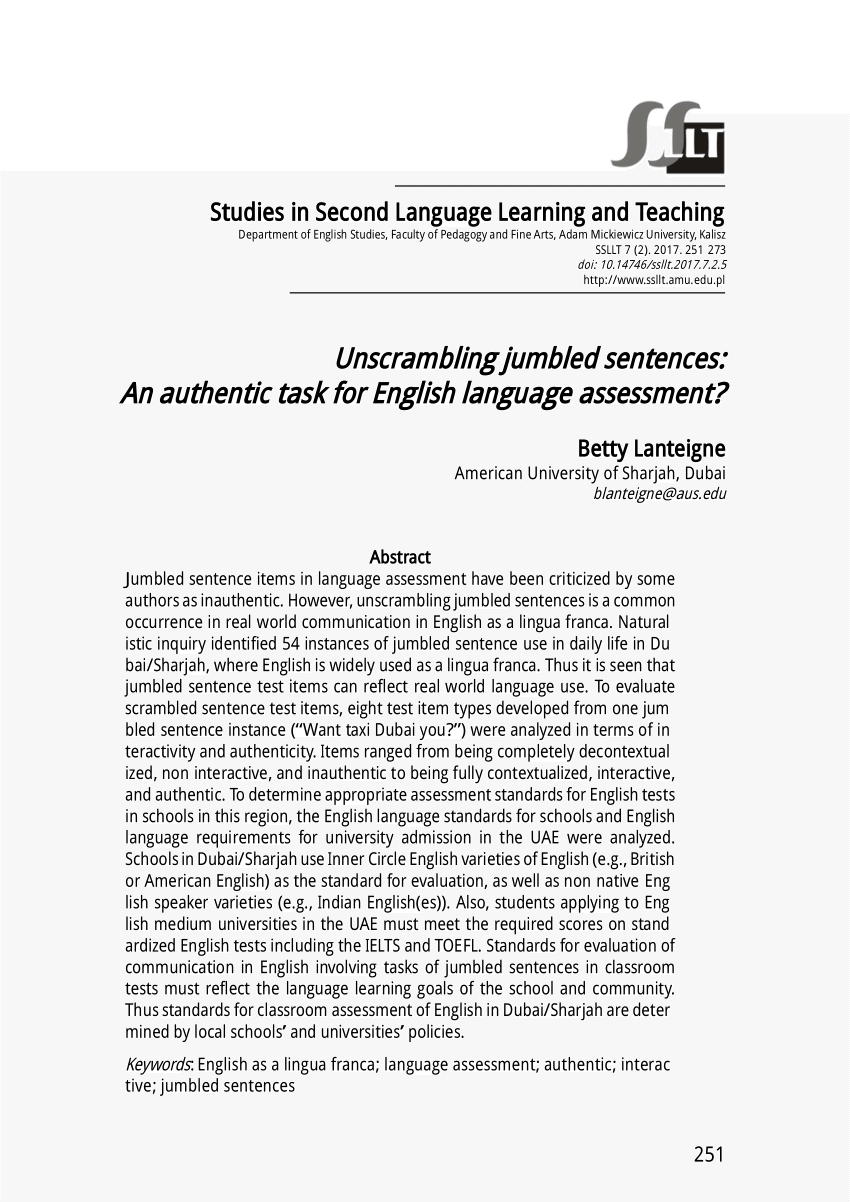 medium resolution of PDF) Unscrambling jumbled sentences: An authentic task for English language  assessment?