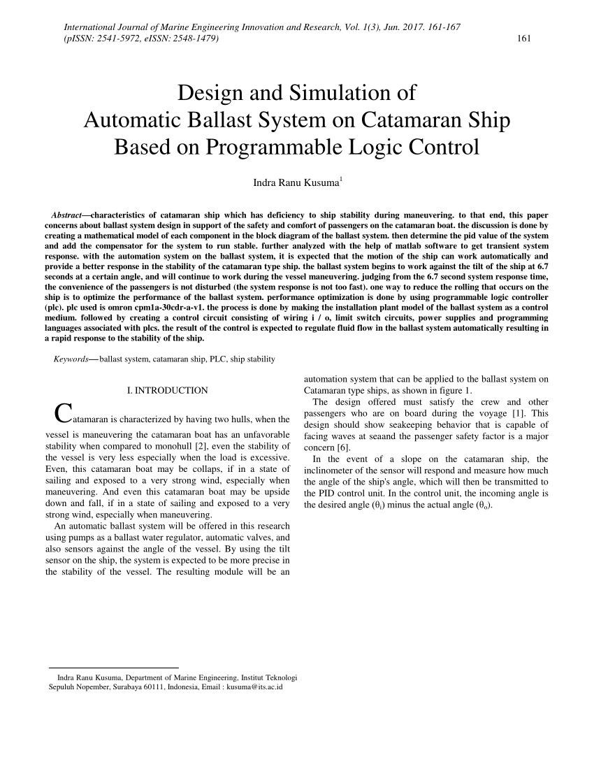 medium resolution of  pdf design and simulation of automatic ballast system on catamaran ship based on programmable logic control