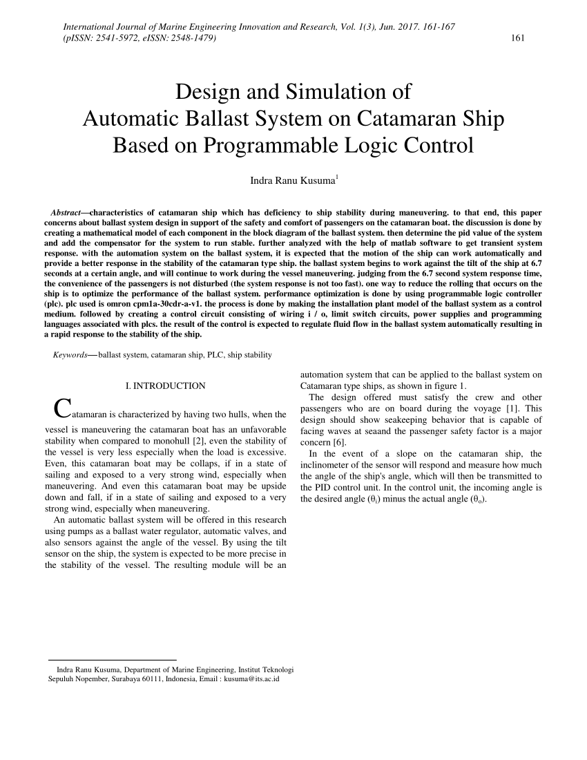 hight resolution of  pdf design and simulation of automatic ballast system on catamaran ship based on programmable logic control