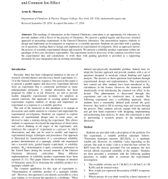 PDF) Guided Inquiry and Discovery in General Chemistry: Solubility Product  and Common Ion Effect [ 1100 x 850 Pixel ]