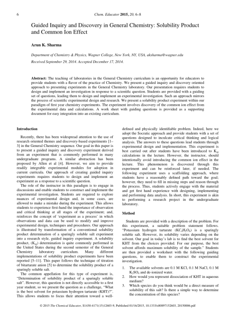 small resolution of PDF) Guided Inquiry and Discovery in General Chemistry: Solubility Product  and Common Ion Effect