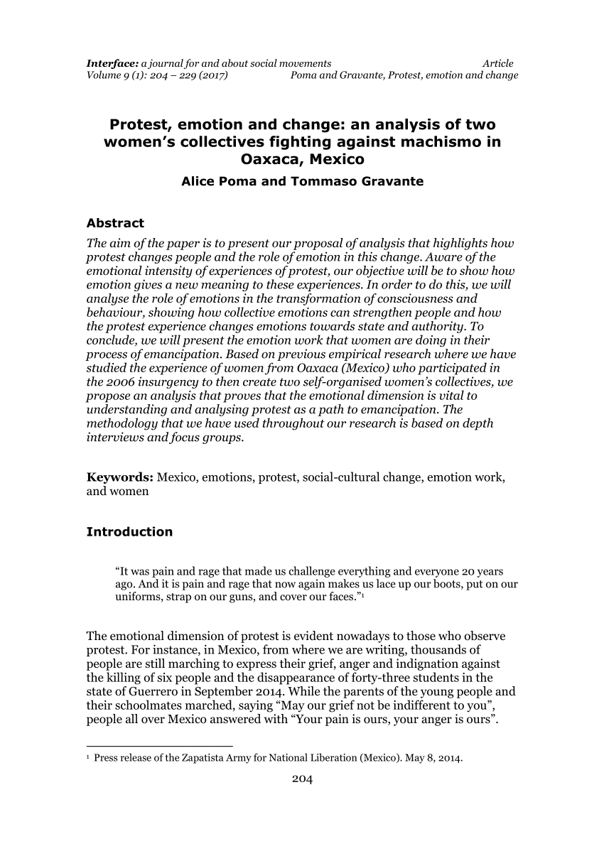 PDF Protest Emotion And Change An Analysis Of Two Women's