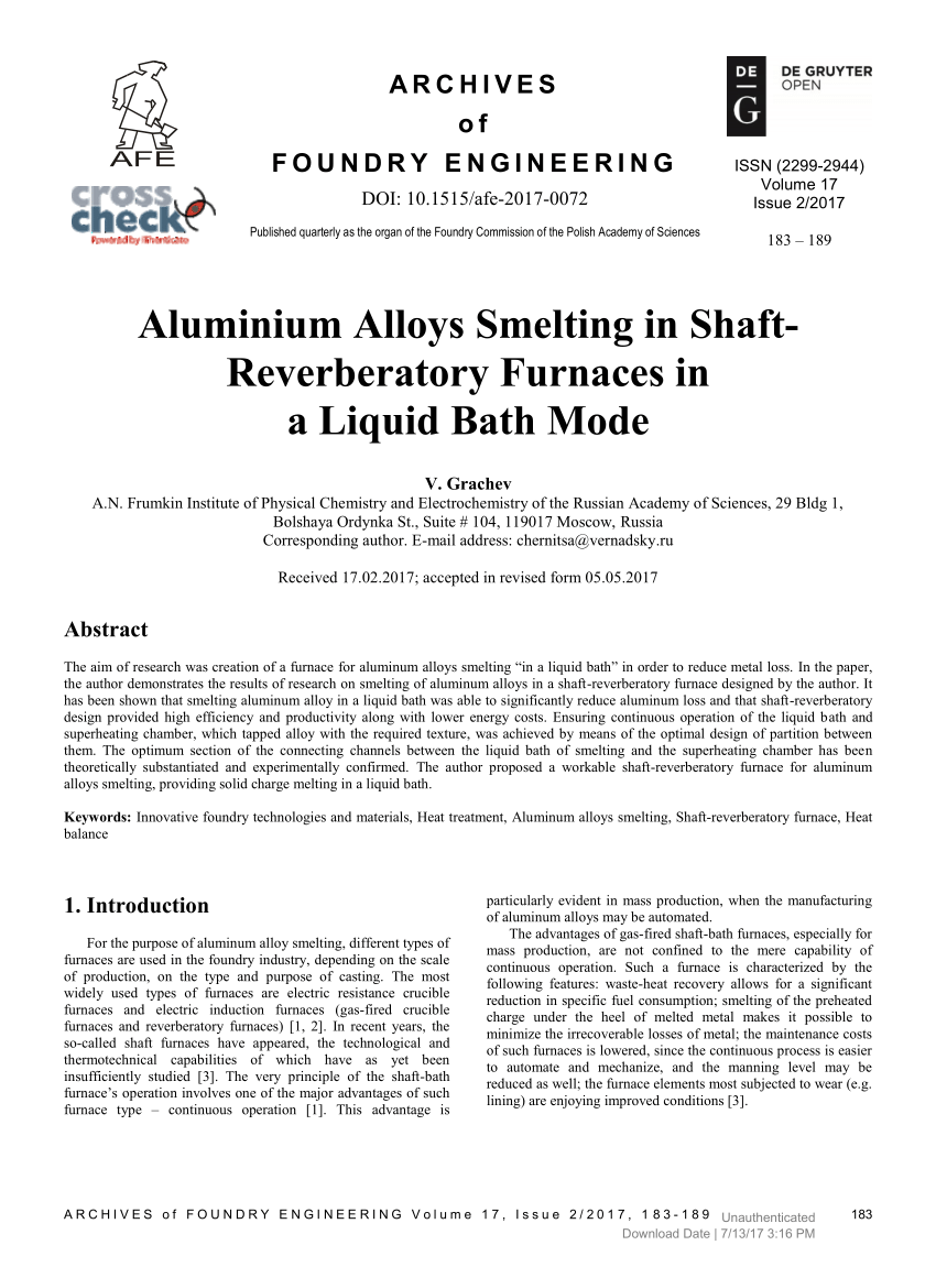 hight resolution of  pdf aluminium alloys smelting in shaft reverberatory furnaces in a liquid bath mode