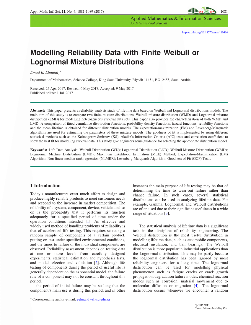 PDF Modelling Reliability Data With Finite Weibull Or Lognormal