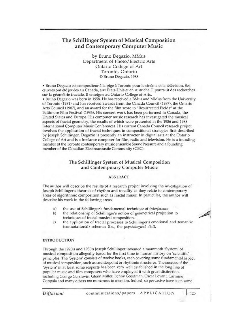 (PDF) The Schillinger System of Musical Composition and