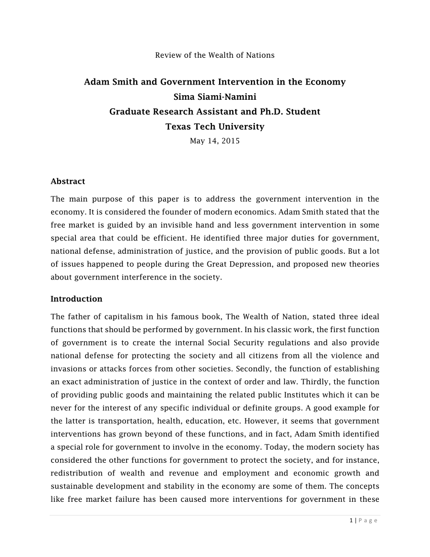 PDF Adam Smith And Government Intervention In The Economy