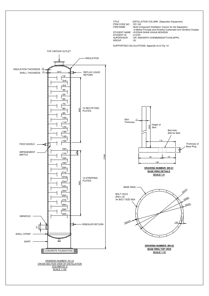 (PDF) Distillation Column AutoCAD Drawing Design
