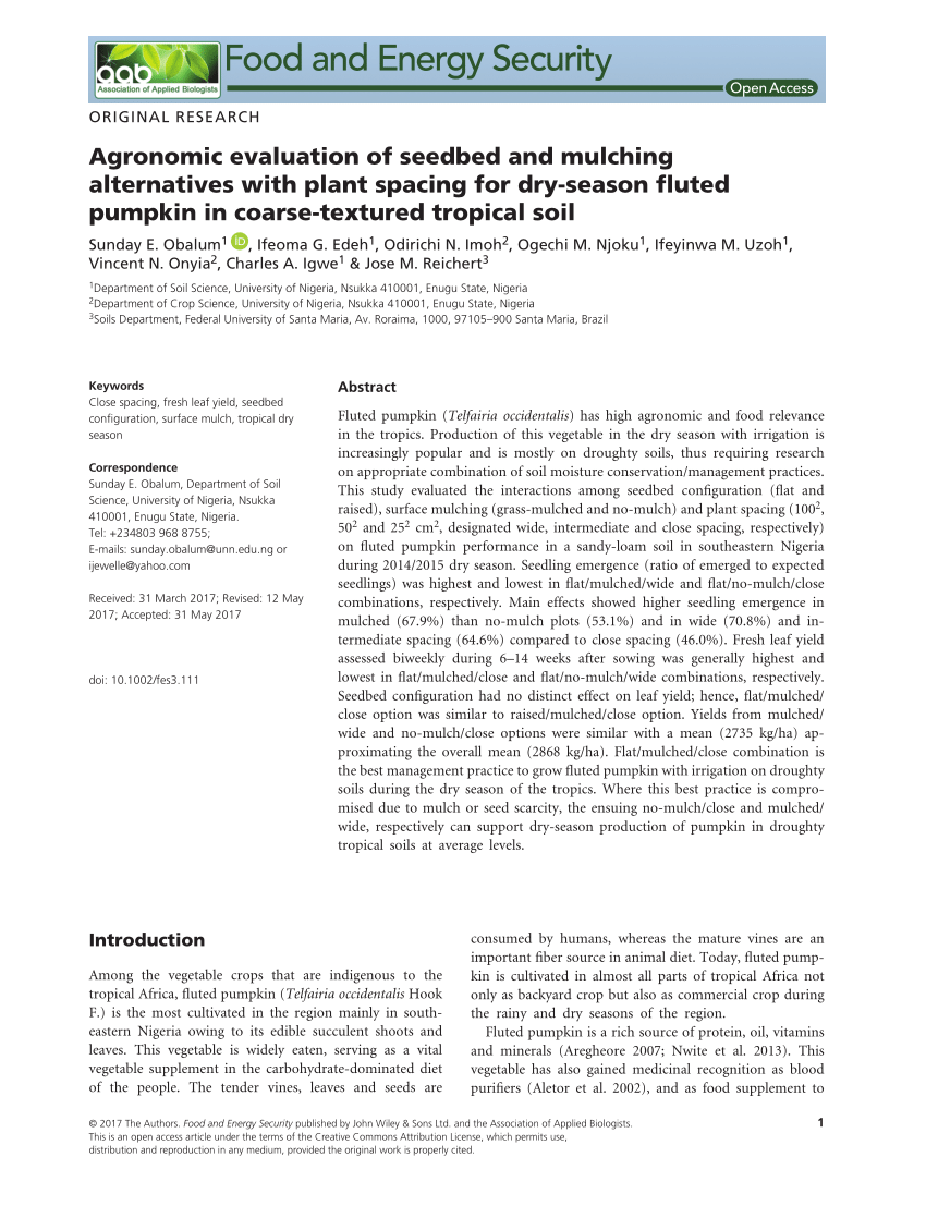 hight resolution of  pdf diversity and production methods of fluted pumpkin telfairia occidentalis hook f experience with vegetable farmers in makurdi nigeria