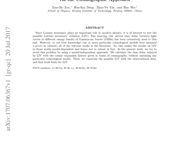 Pdf Model Independent Constraints On Lorentz Invariance Violation Via The Cosmographic Approach