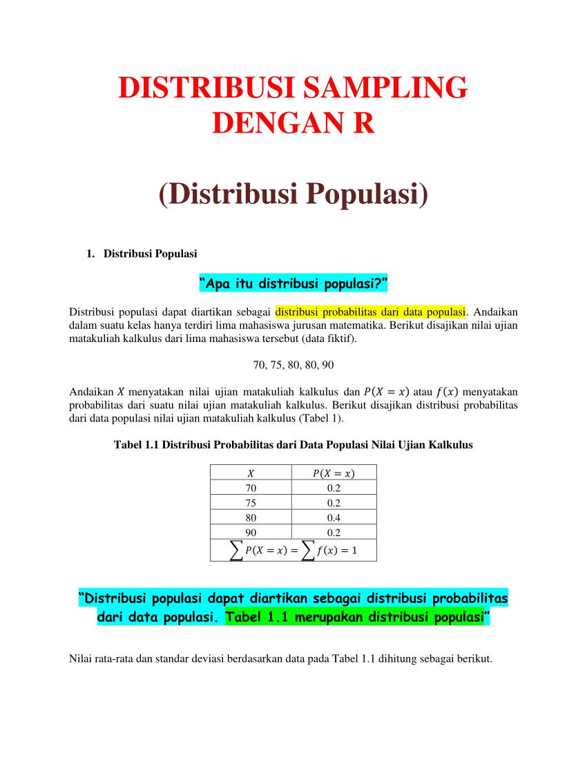 Statistika matematika ii (3sks) 4. Pdf Distribusi Sampling Dilengkapi Dengan Ilustrasi Dalam R Contoh Soal Dan Jawaban