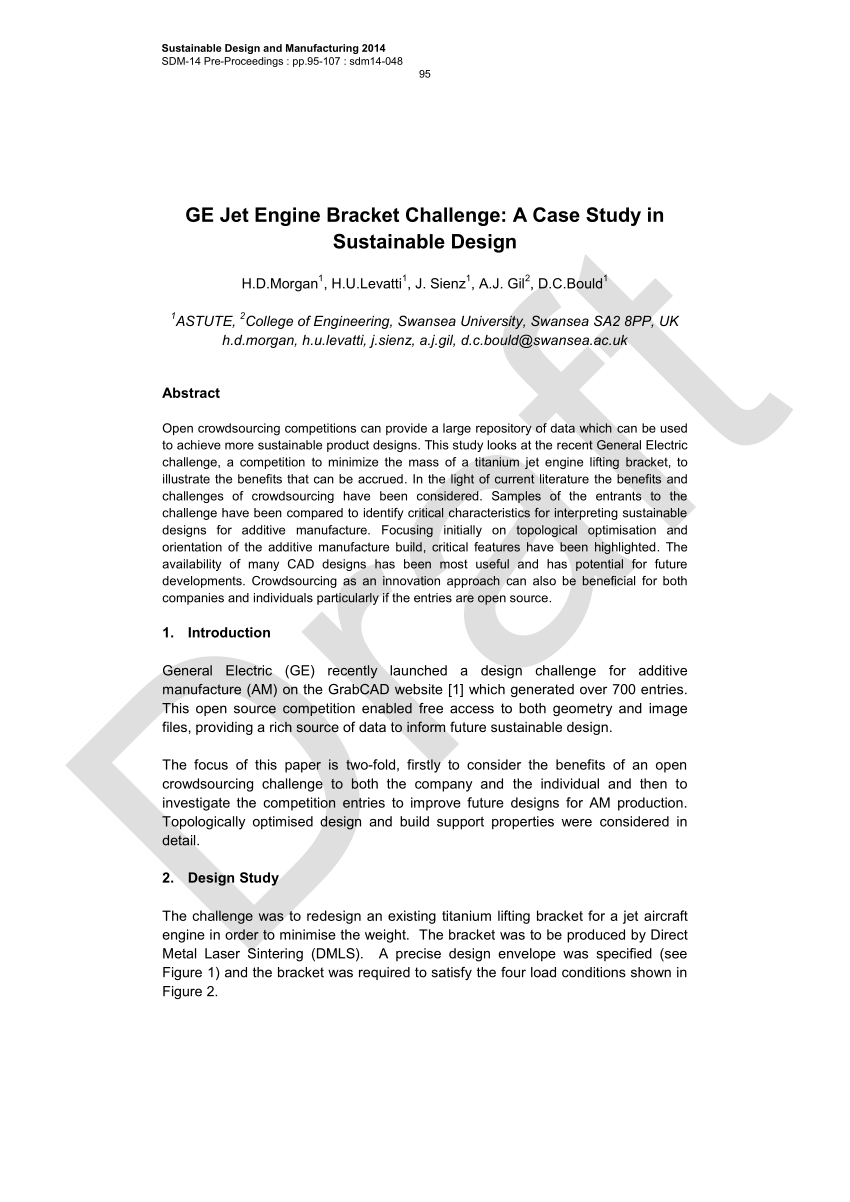 hight resolution of  pdf 2016 ge jet engine bracket challenge a case study in sustainable design
