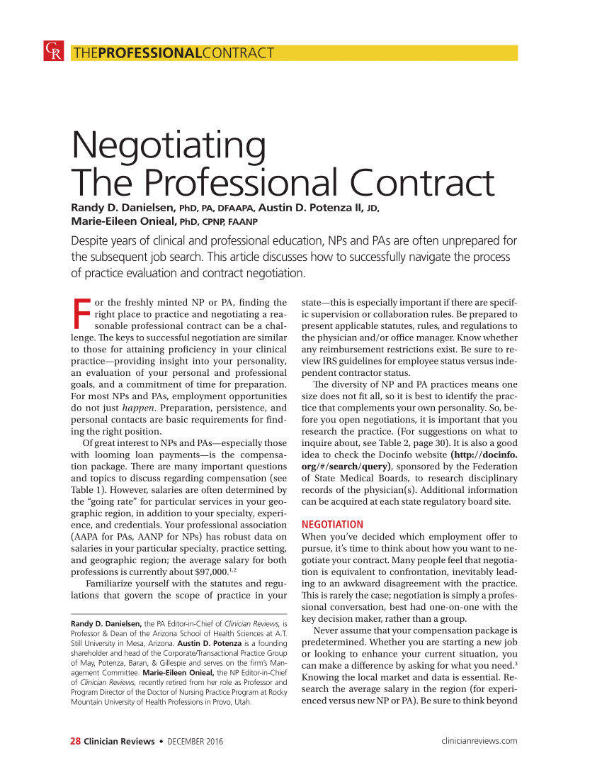 (Pdf) Negotiating The Professional Contract