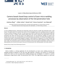 pdf camera based closed loop control of laser micro welding processes by observation of the full penetration hole [ 850 x 1165 Pixel ]
