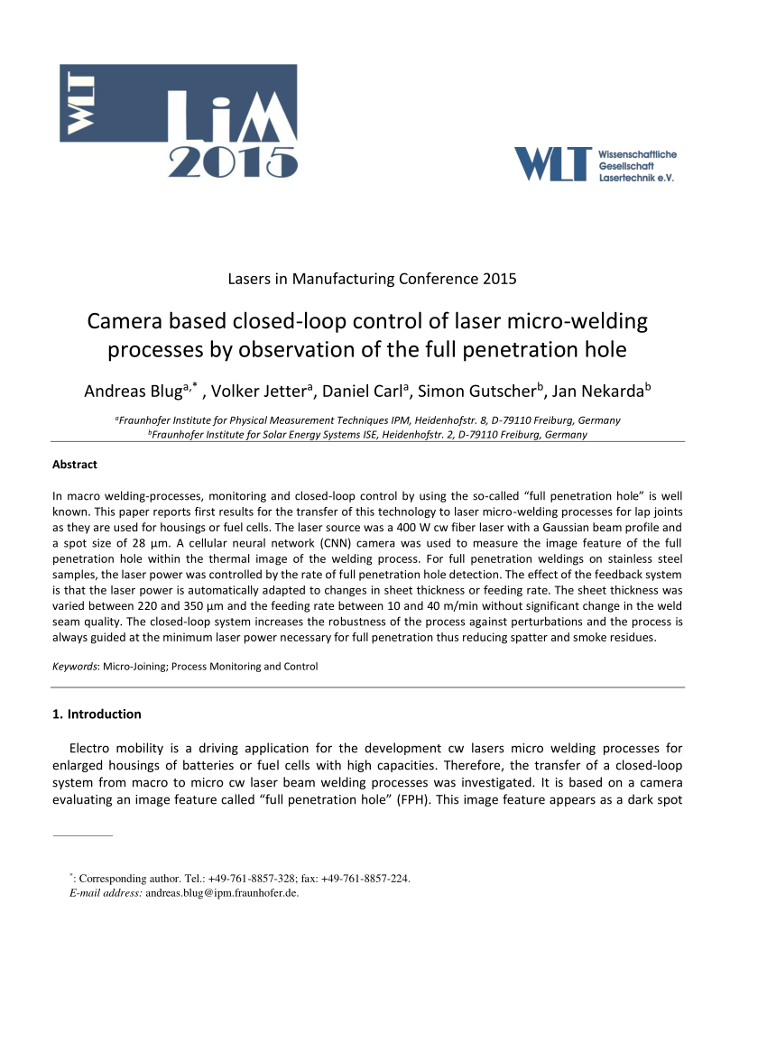 hight resolution of  pdf camera based closed loop control of laser micro welding processes by observation of the full penetration hole