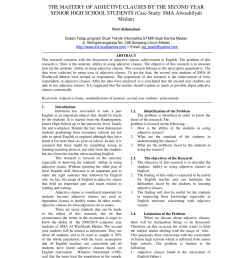 PDF) The Mastery Of Adjective Clauses By The Second Year Senior High School  Students (Case Study: SMA Alwashliyah Medan). THE MASTERY OF ADJECTIVE  CLAUSES BY THE SECOND YEAR SENIOR HIGH SCHOOL STUDENTS ( [ 1100 x 850 Pixel ]