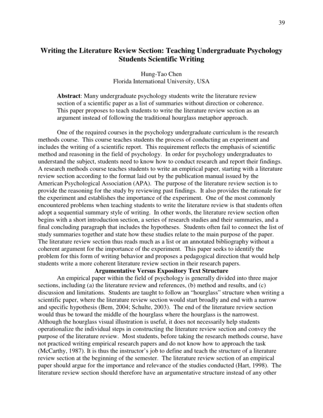 PDF) Writing The Literature Review Section: Teaching Undergraduate