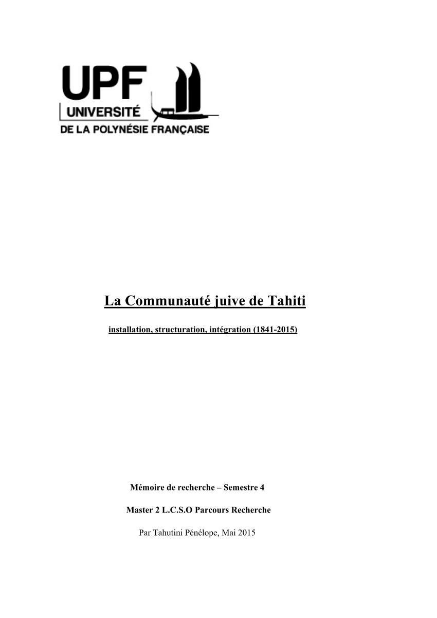 (PDF) La Communauté juive de Tahiti. Installation