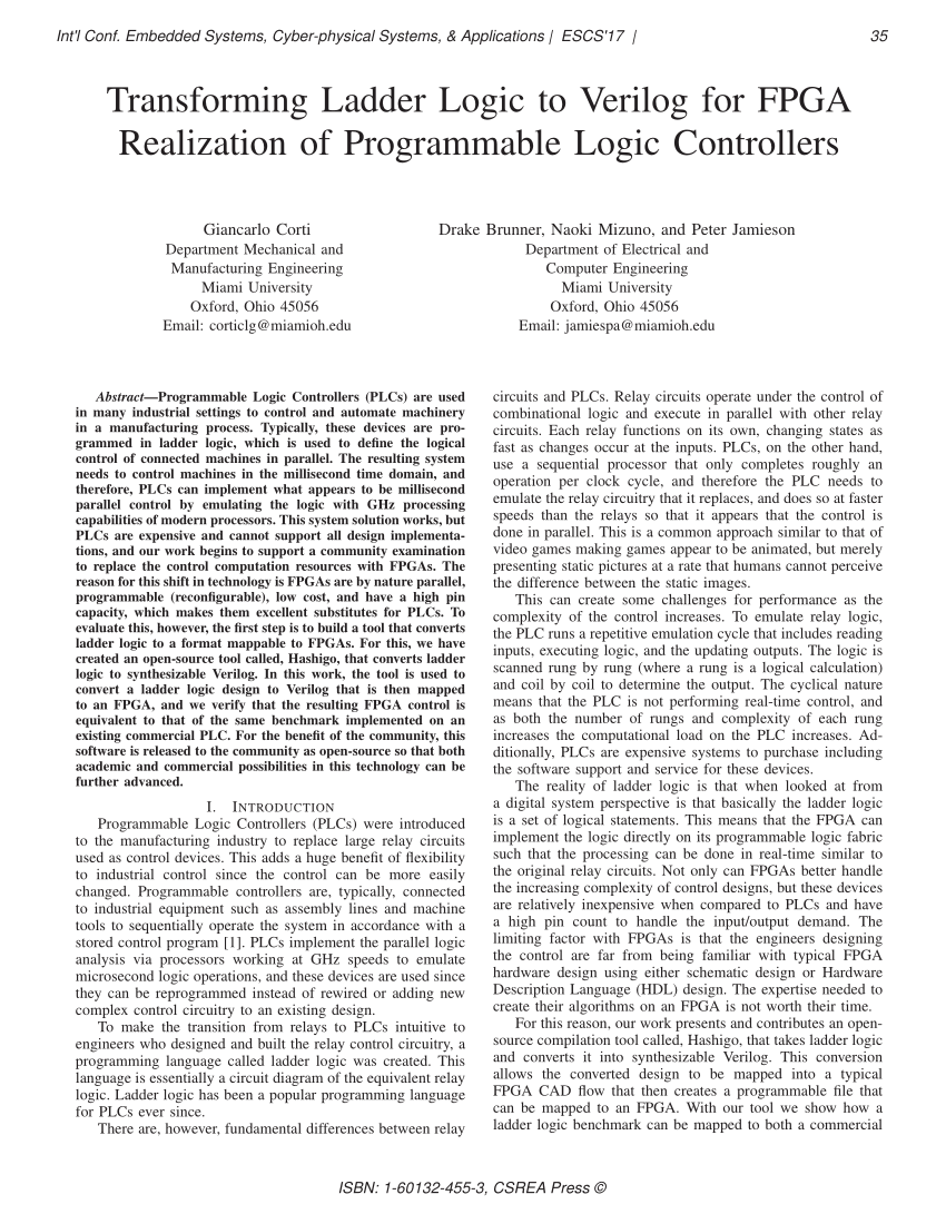 hight resolution of  pdf transforming ladder logic to verilog for fpga realization of programmable logic controllers