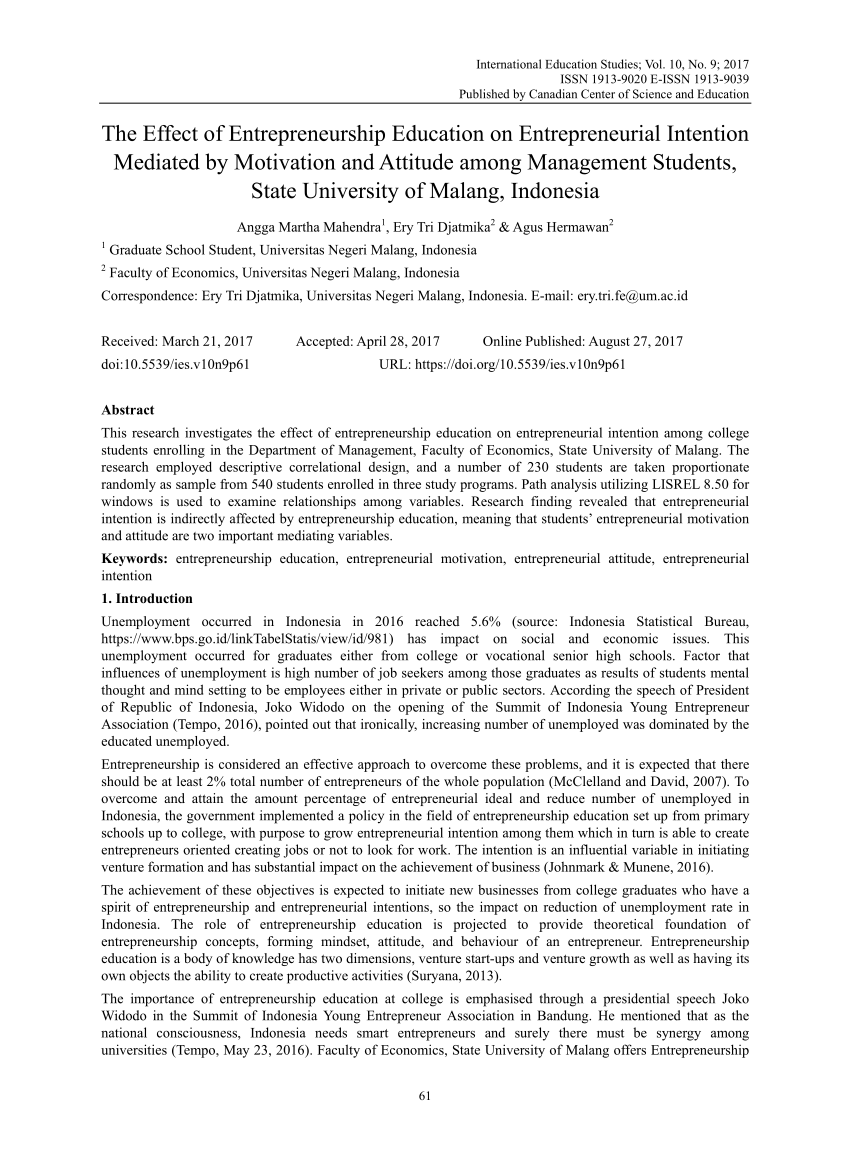 Pdf The Effect Of Entrepreneurship Education On Entrepreneurial Intention Mediated By Motivation And Attitude Among Management Students State University Of Malang Indonesia