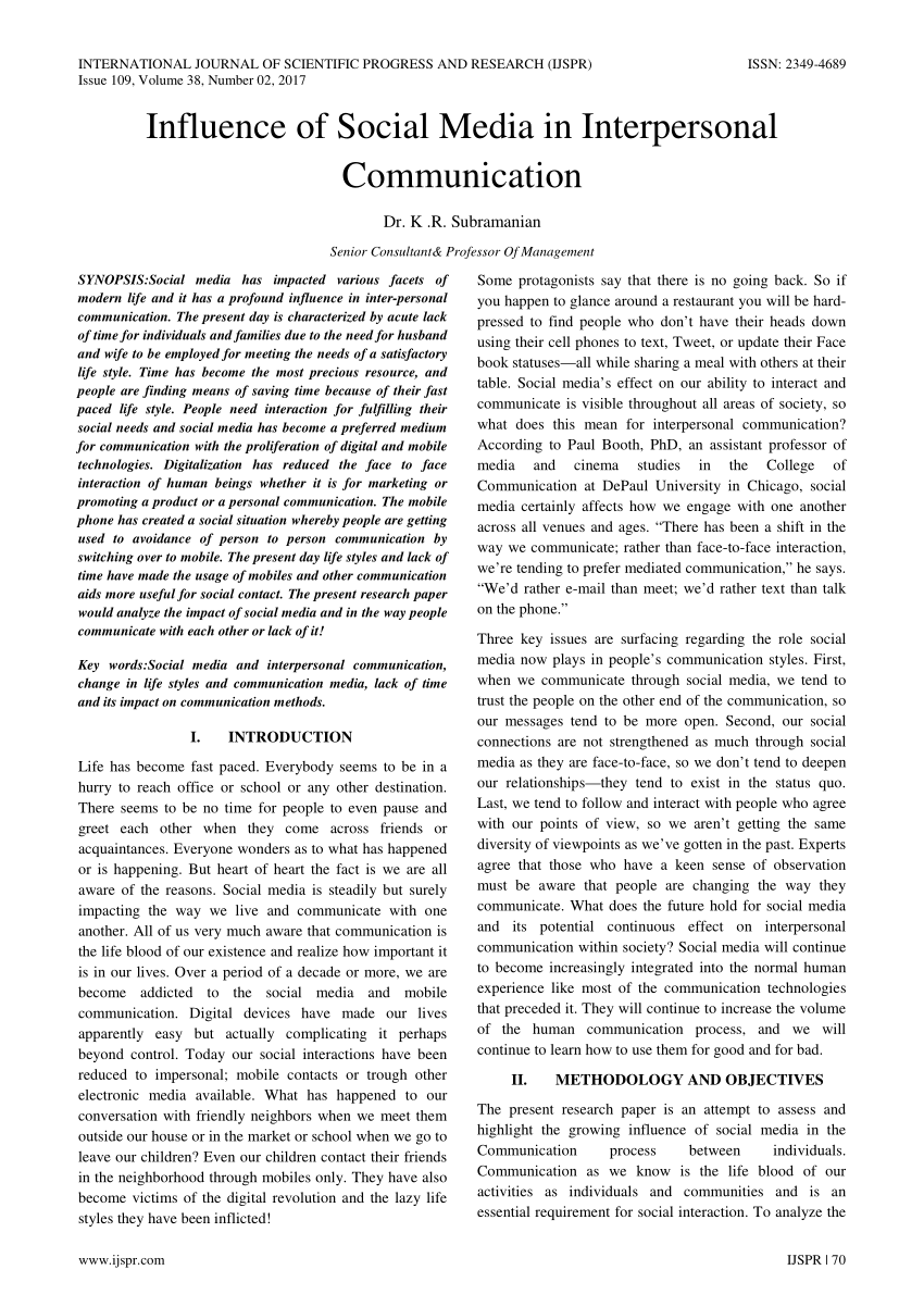 PDF Influence Of Social Media In Interpersonal Communication