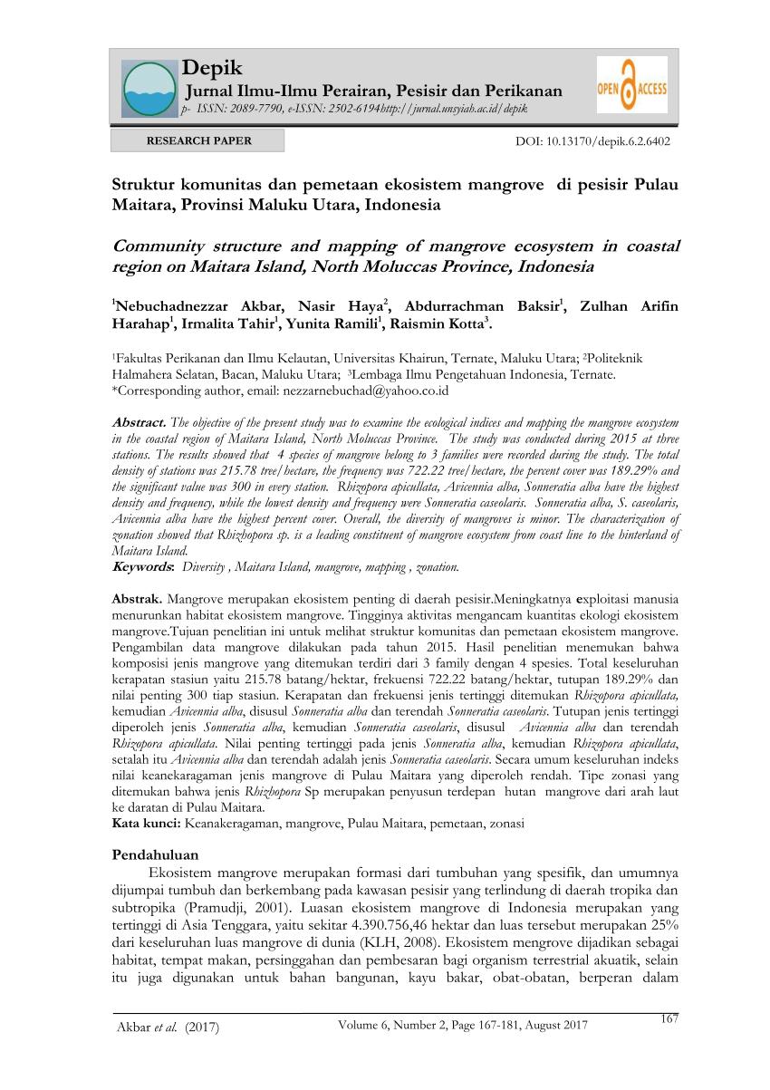 medium resolution of  pdf struktur komunitas dan pemetaan ekosistem mangrove di pesisir pulau maitara provinsi maluku utara indonesia