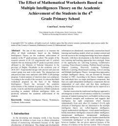 PDF) The Effect of Mathematical Worksheets Based on Multiple Intelligences  Theory on the Academic Achievement of the Students in the 4th Grade Primary  School [ 1153 x 850 Pixel ]