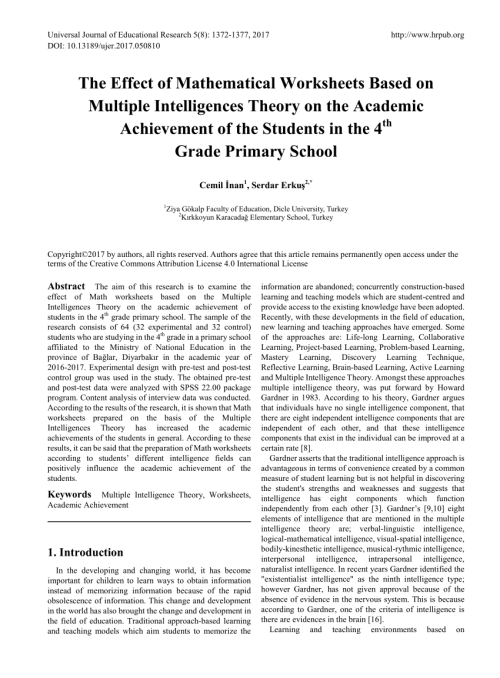 small resolution of PDF) The Effect of Mathematical Worksheets Based on Multiple Intelligences  Theory on the Academic Achievement of the Students in the 4th Grade Primary  School
