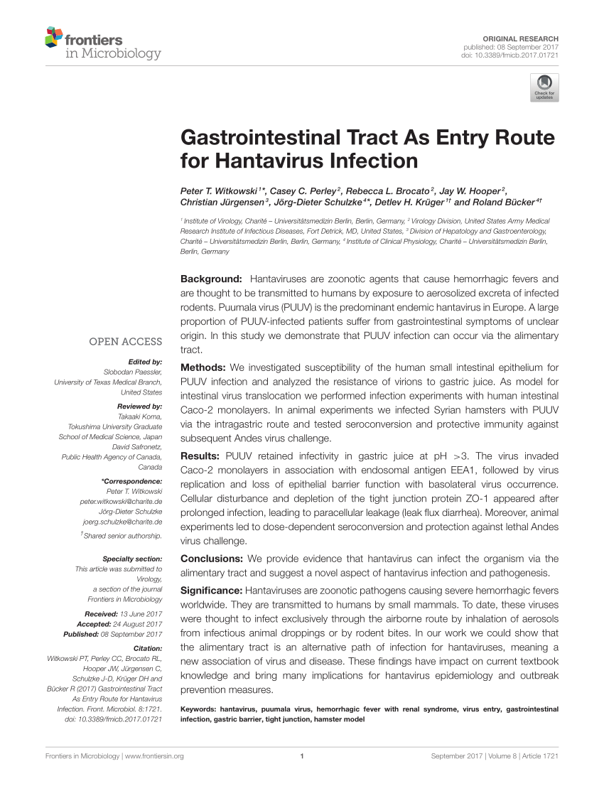 PDF) Gastrointestinal Tract As Entry Route for Hantavirus Infection