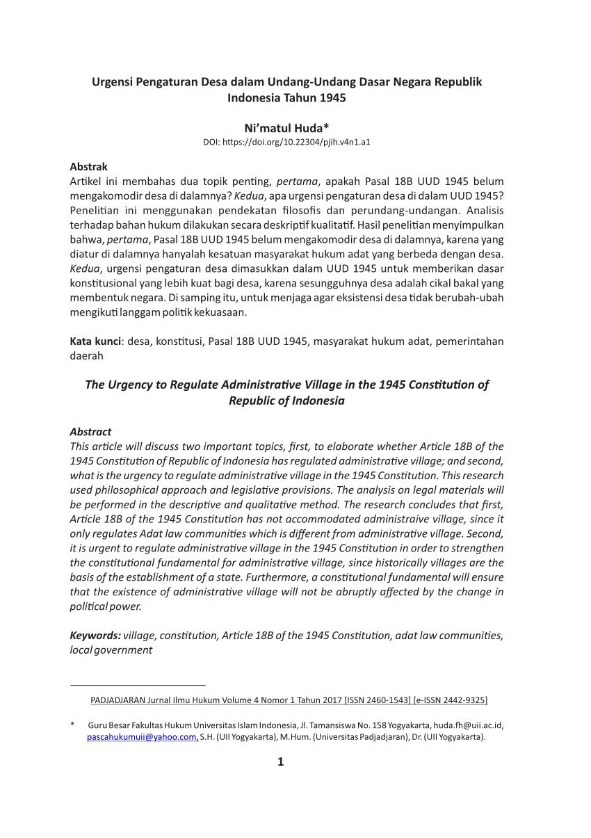 PDF Artikel Kehormatan Urgensi Pengaturan Desa dalam
