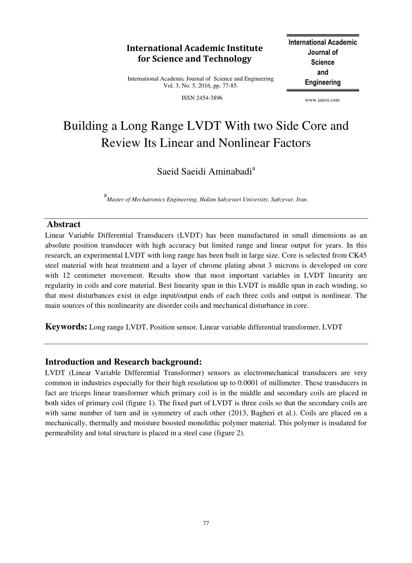 hight resolution of  pdf building a long range lvdt with two side core and review its linear and nonlinear factors