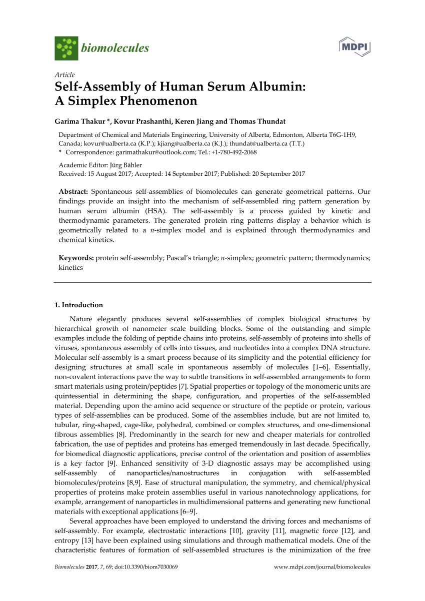 medium resolution of  pdf self assembly of human serum albumin a simplex phenomenon