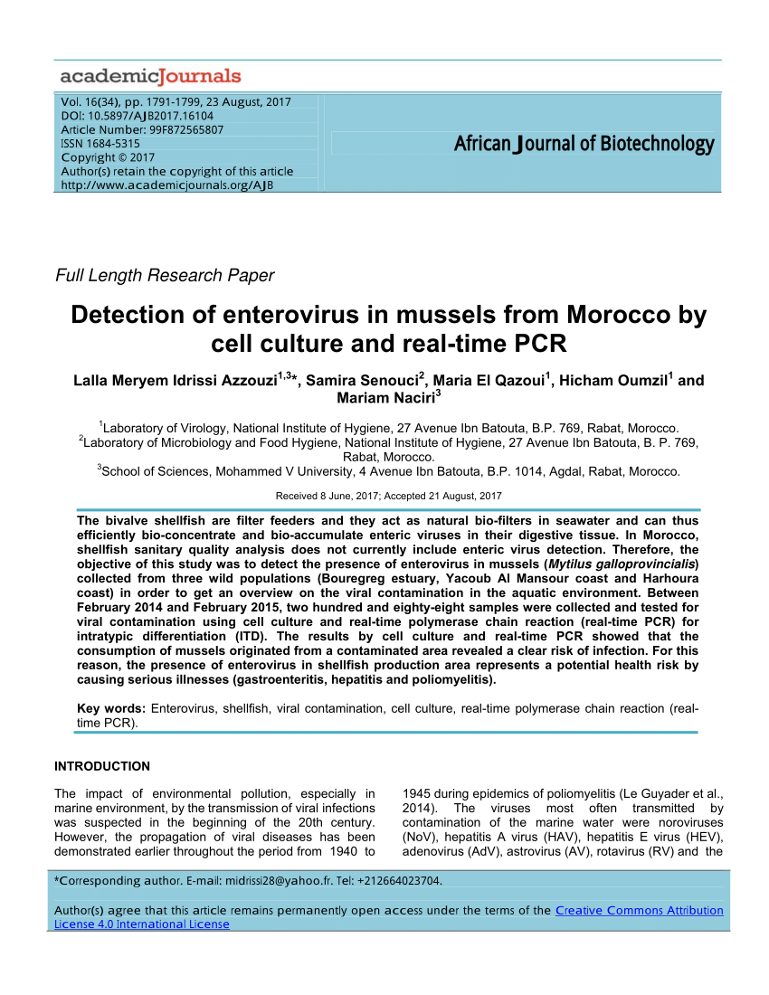 hight resolution of  pdf evaluation of hepatitis a virus contamination in environmental water and shellfish samples of casablanca region morocco