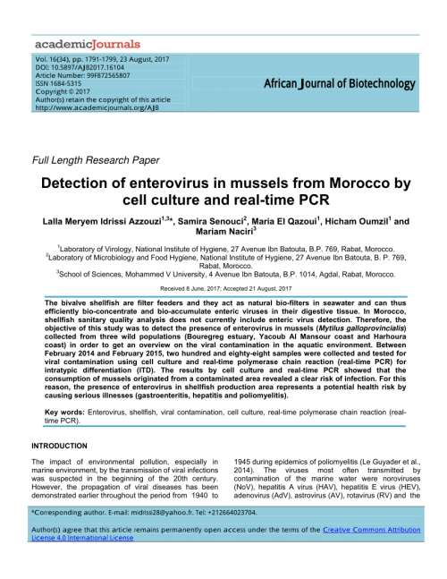 small resolution of  pdf evaluation of hepatitis a virus contamination in environmental water and shellfish samples of casablanca region morocco