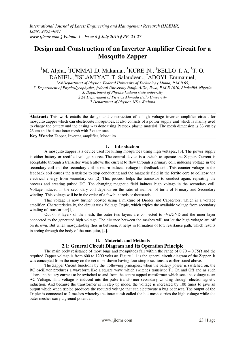 medium resolution of  pdf design and construction of an inverter amplifier circuit for a mosquito zapper