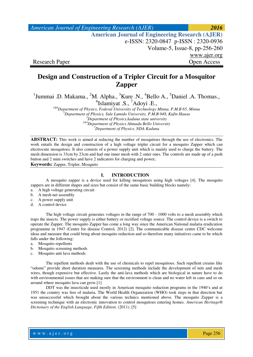 hight resolution of  pdf design and construction of a tripler circuit for a mosquitor zapper