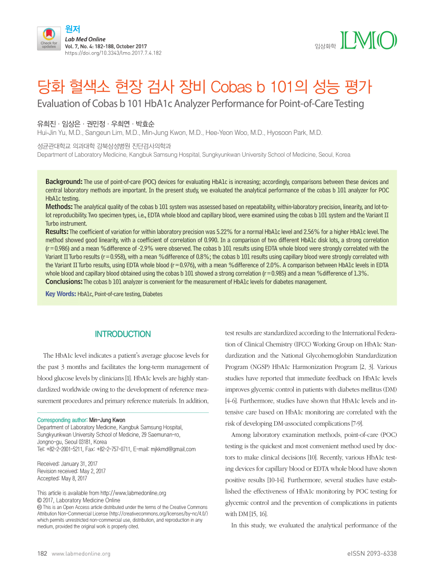 pdf evaluation of cobas b 101 hba1c analyzer performance for point of care testing